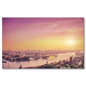 Αφίσα (Λονδίνο, λιμάνι, πρωί, Τάμεσης, ποτάμι, ηλιοβασίλεμα)